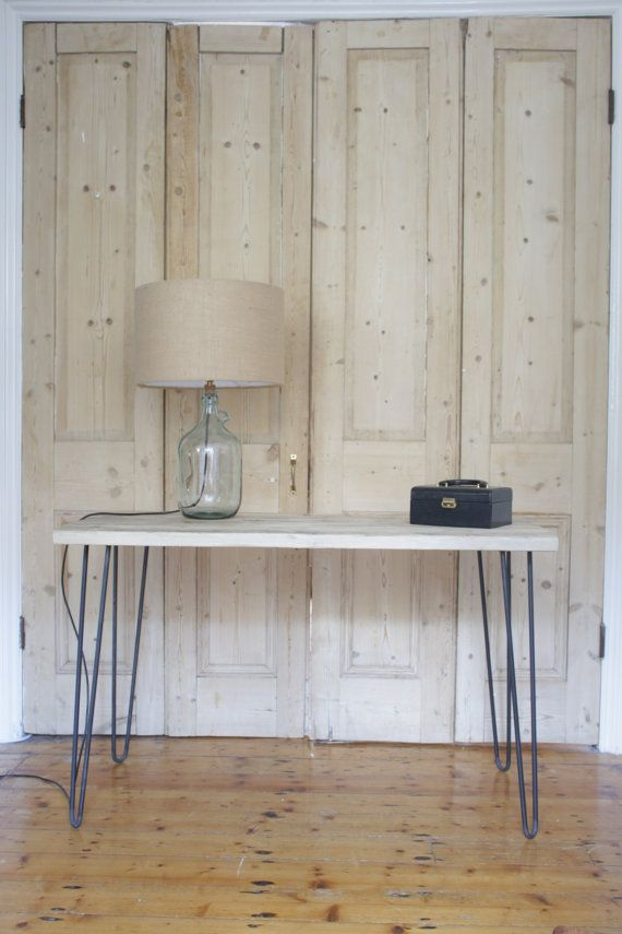 Hairpin leg desk made with reclaimed scaffolding boards