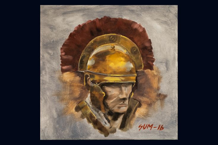 """330$ """"Roman centurion"""". Original oil-painting. A unique work of art. This painting is a picture of a worn Roman centurion.  On the gray background the colours of gold and red symbolises triumph in battle and more power to the Empire."""