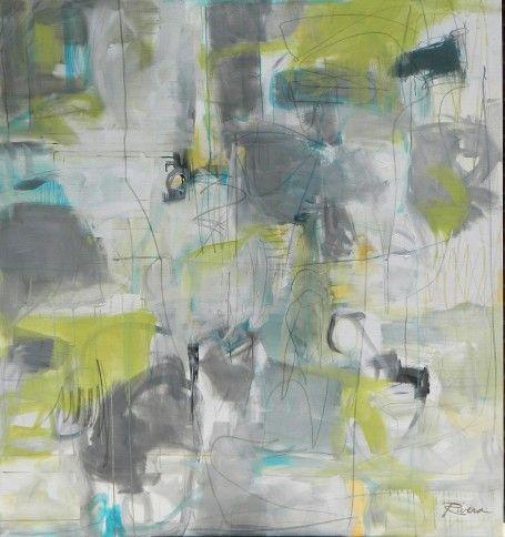 "Jennifer Rivera, ""She Preferred the Rain"", 70"" X 65"", acrylic graphite and pastel stick on canvas"