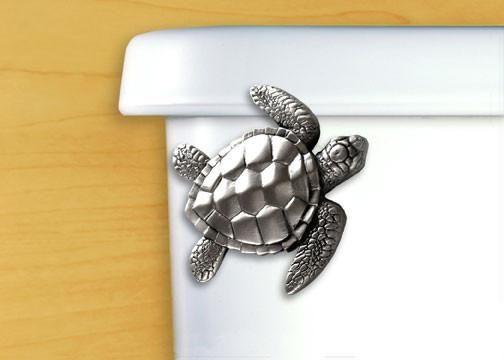Satin Pewter Sea Turtle Toilet Handle - Angled Tank Mount