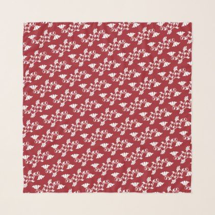 Red and White Floral Chiffon Scarf - floral gifts flower flowers gift ideas