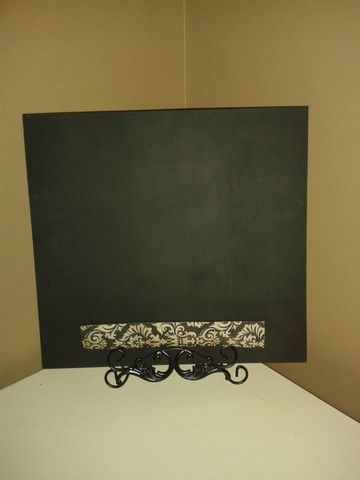 Custom crafted chalkboard has a decorative decoupage ledge for your recipes.  The back of the board is cork for pinning your messages.  Comes with stand.  4 sale on my website.