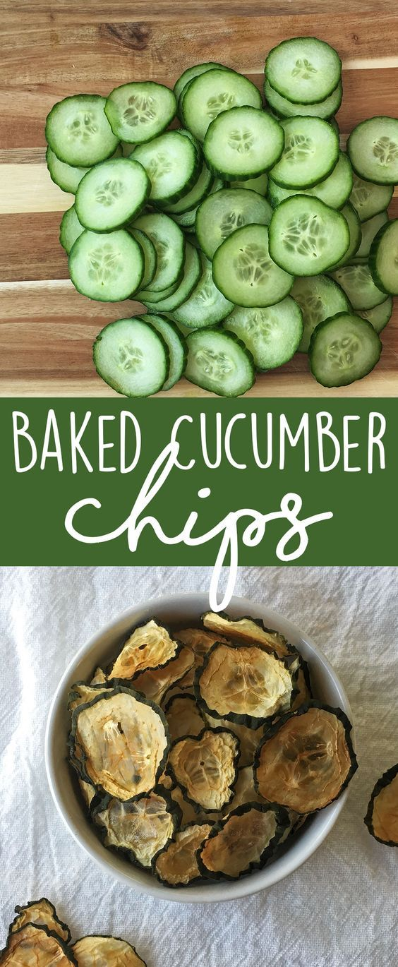 Crunchy and healthy snack recipe - baked cucumber chips! Super easy and kid approved snack. A great way to use up those yummy garden cucumbers.