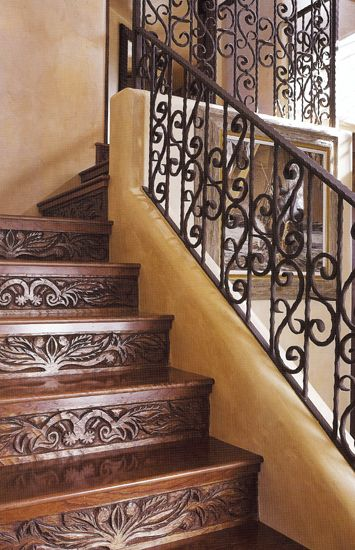 Iron railing and stair carving.: Carvings Stairs, Carvings Wood, Stairs Risers, Wood Letters, Wood Design, Irons Railings, Spanish Style, Wrought Irons, Wood Stairs