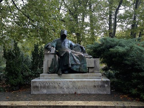 Anonymous, represented by this statue found in Budapest, Hungary's City Park, is not as sinister as this statue might suggest. In actuality, he was a famous writer of early Hungarian history.