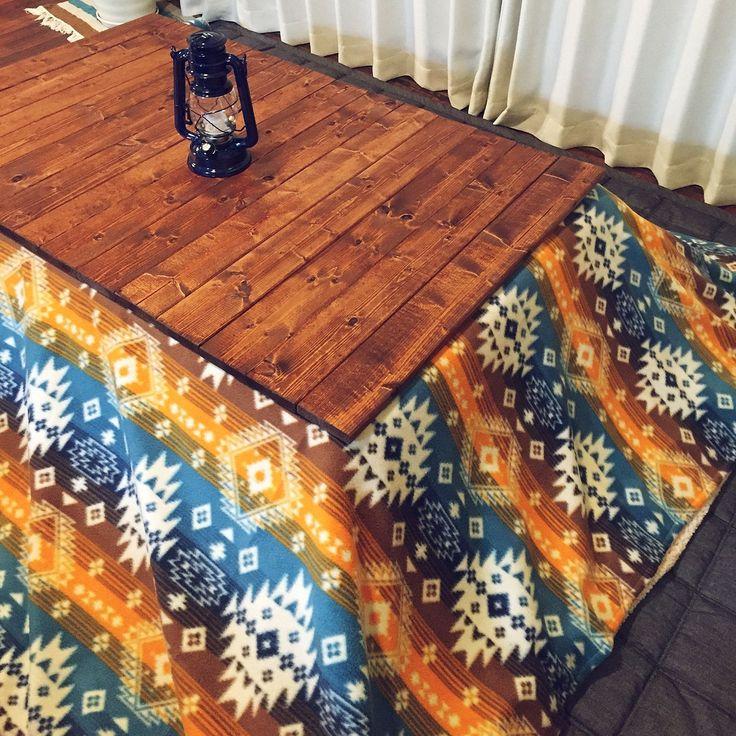 しまむら×こたつ布団のインテリア実例 | RoomClip (ルームクリップ) My Desk/無印良品/DIY/こたつ/ウォールナット/しまむら/こたつ布団