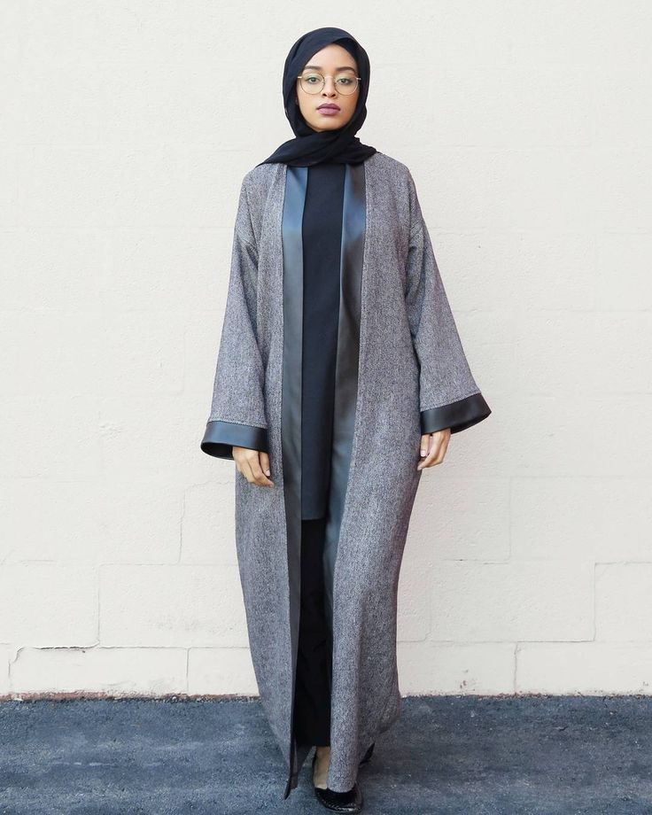 Grey + Leather Abaya. This should be a trend. Love it! #Abaya Ojuju77