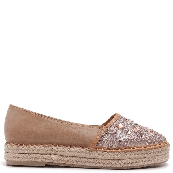 Espadrilles in camel colour with lace, embroidered sequins on the toe cap & double rope sole.