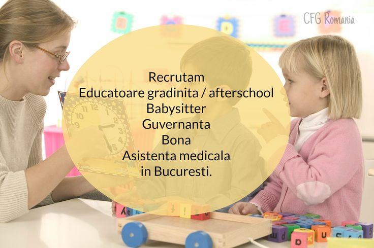 Recrutam #educatoare gradinita / #afterschool, #babysitter, guvernanta, #bona, asistenta medicala in #Bucuresti. Suntem o companie care activeaza în domeniul resurselor umane oferind servicii de psihologie. Fiind la inceput de drum, dorim sa ne marim baza de date cu clienti ce isi doresc un loc de munca.  Pentru a putea beneficia de unul din #joburile enumerate, va rugam sa ne trimiteti pe adresa de email: office@recrutarepersonalpentrufamiliisigradinite.ro un CV si o Scrisoare unde sa ne…