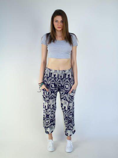 Nellie Dark Blue Elephant Print Pants by The Elephant Pants