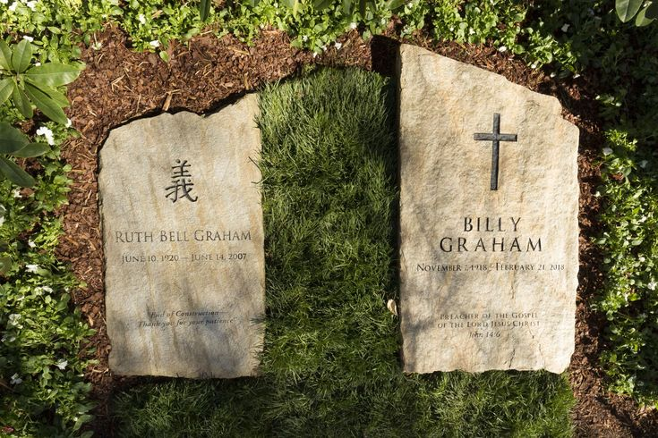 ": A slab of North Carolina stone marks the grave of Billy Graham, buried next to his wife, Ruth, at the Prayer Garden located next to the Billy Graham Library in Charlotte. The marker inscription bears the text, ""Preacher of the Gospel of the Lord Jesus Christ"" with the Scripture reference, John 14:6. (Billy Graham's Grave Marker) #BillyGraham"