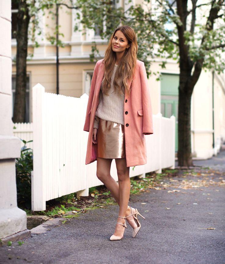 Nettenestea blogg annette haga outfit custommade jakke rosa metallisk skjørt antrekk mote fashion blogg september 2014