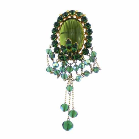 Art Deco Dark Green Rhinestone Tassel Brooch