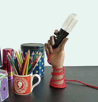 Wooden Mannequin Hand Lamp