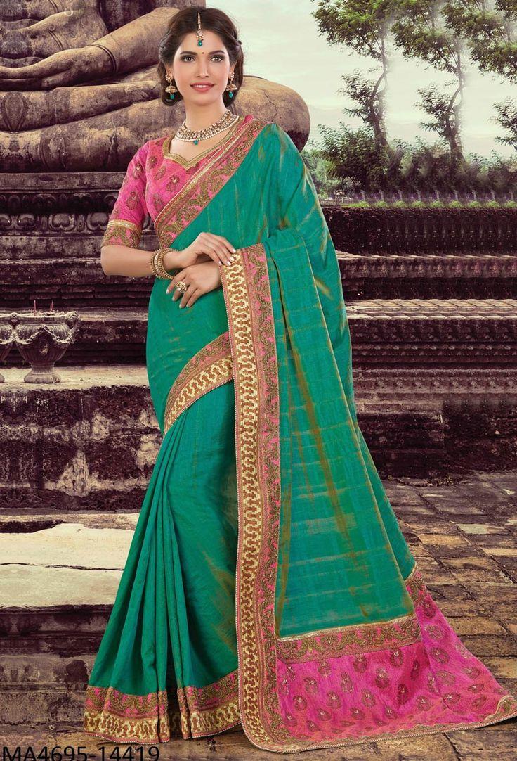 Green Two Tone Silk Designer Saree #green #Trendy #onlinesari #sari #saree #WomenClothing #WomenWear #Designersari #stylishsari #nikvik #usa #designer #australia #canada #malaysia #UAE #freeshipping  Sign up and get USD100 worth vouchers.Price-US$106.66