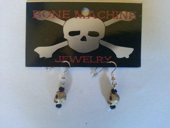 White Howlite Skull Earings by BoneMachineJewelry on Etsy, $7.50