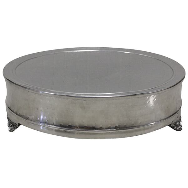 Edita Silver Cake Stand (Large) || Oversized hammered silver footed cake stand. Smaller one to coordinate as well. Dimensions: 22 x 22 x 6. Quantity: 1.