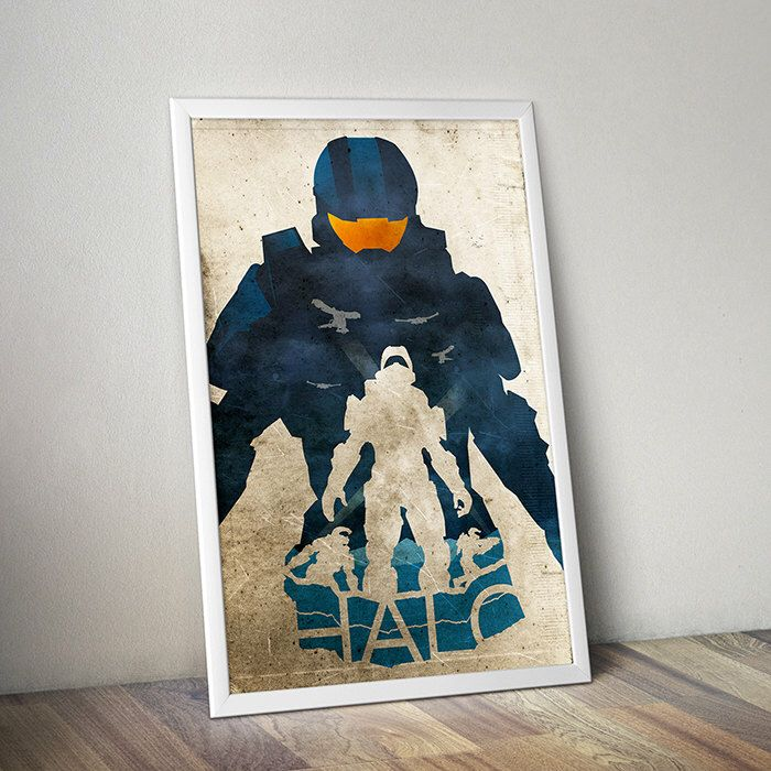 Halo poster video game poster alternative poster scifi video Game Xbox game Cortana Master Chief Portal Bioshock Spartan Destiny Gamer by TheCelluloidAndroid on Etsy https://www.etsy.com/listing/210750817/halo-poster-video-game-poster