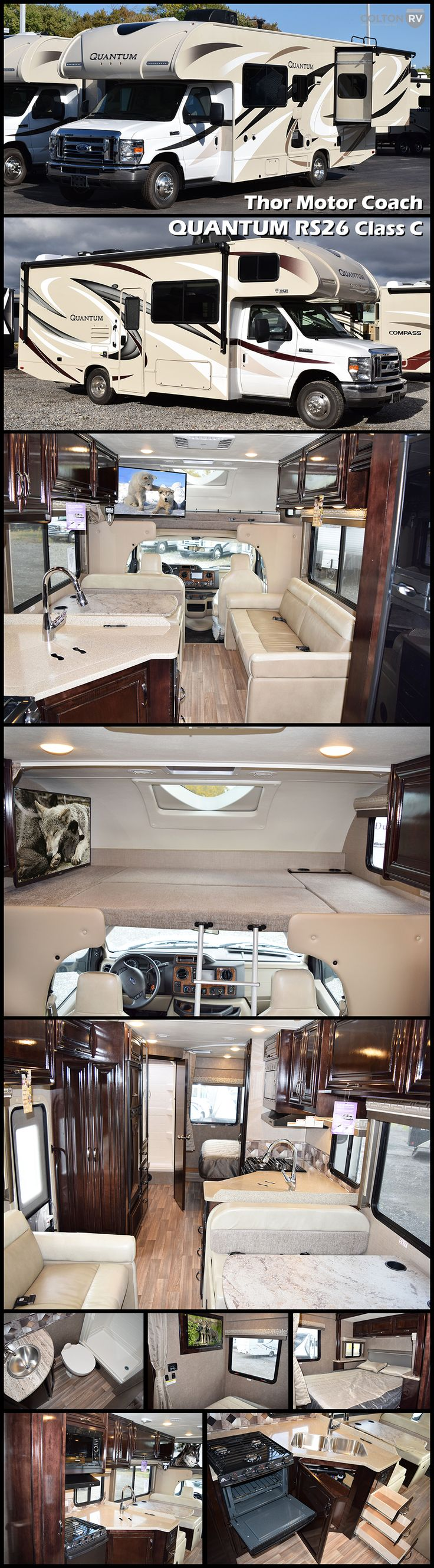 """2017 QUANTUM RS26 by THOR MOTOR COACH. This Class C Motorhome features a cab-over bunk which will be a favorite of the kids to sleep up top with 54"""" x 87"""" of sleeping space. They will love sky-gazing out the built-in skylight above. There is also a 40"""" LED TV on a swivel base for perfect viewing from anywhere in the coach."""