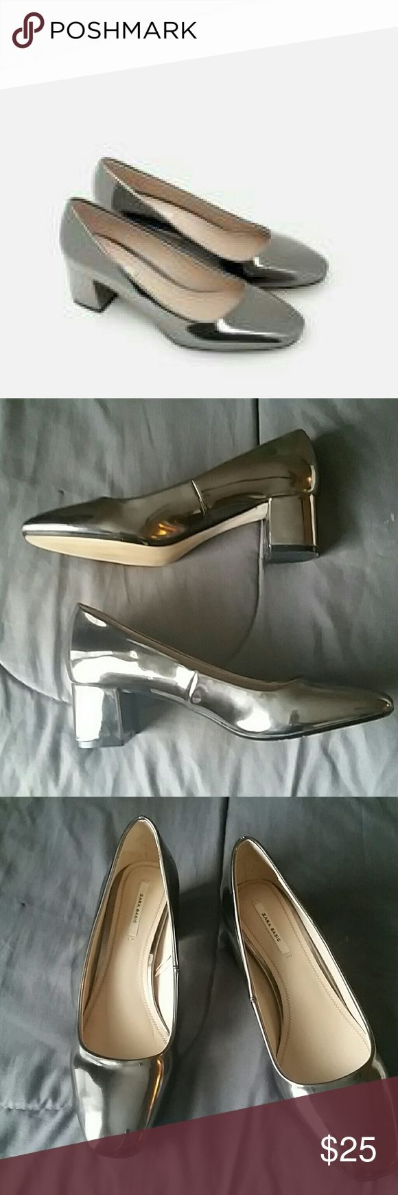 Zara silver court shoes *will negotiate Worn twice..fits like a size 7 ..one tiny.scuff Zara Shoes Flats & Loafers
