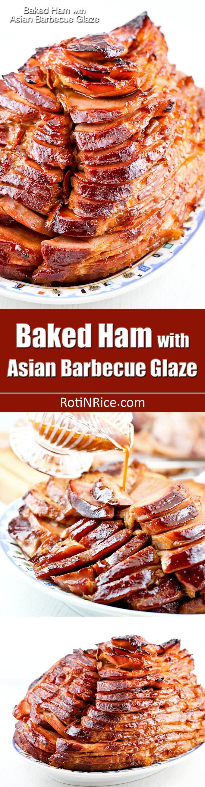 Baked Ham with Asian Barbecue Glaze made of hoisin sauce and dried clementine peel. Beautifully caramelized and perfect for any occasion. | http://RotiNRice.com
