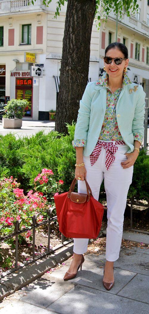 Spring print mixing - floral shirt, seersucker jacket, gingham ribbon belt