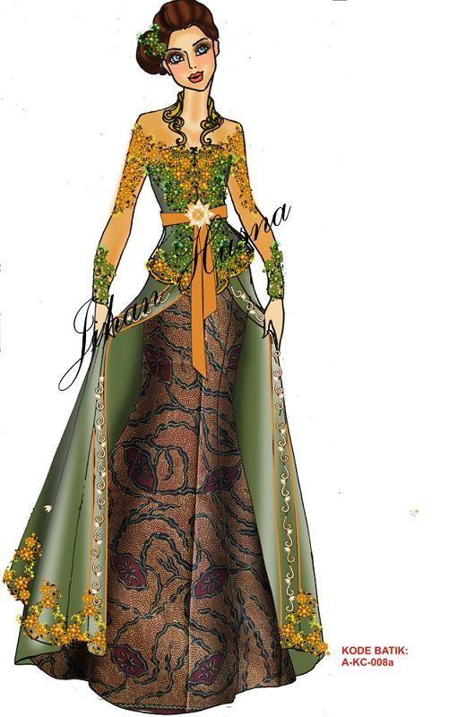 gaun pesta dari batik modifikasi dengan brokat -