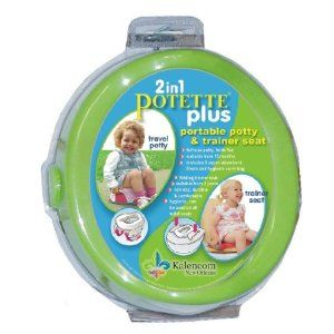 Best little double duty portable potty seat and chair. Bend out the legs, pop in to place, and you have a potty chair for places where bathrooms aren't.  Fold out the legs into wings and you have a seat to use for public bathrooms.     Skip buying the bags and use with a grocery bag and a diaper ;)     Kalencom 2-in-1 Potette Plus $14.75