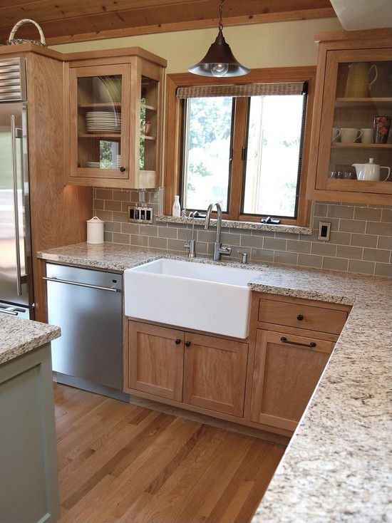 Craftsman Kitchen With Signature Hardware Reinhard Fireclay Farmhouse Sink,  L Shaped, Flat Panel Cabinets, Subway Tile