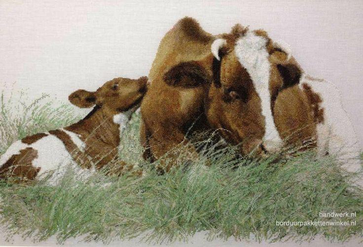 Borduurpakket Bruine koe met kalf Aida - Thea Gouverneur | Borduurpakkettenwinkel