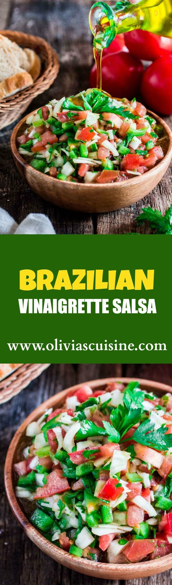 "Brazilian Vinaigrette Salsa | www.oliviascuisine.com | If you've been to a Brazilian barbecue, or feijoada restaurant, you know that the ""vinagrete"" is a must! Milder than the Mexican version, we make our salsa with tomatoes, onions, bell peppers (depending on the region), Vinager and oilve oil. It goest great with any grilled meat, chicken, fish or just with some crunchy bread!"