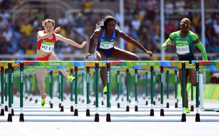 Nia Ali of the United States comptes during the women's 110 hurdles heats in the Rio 2016 Summer Olympic Games at Estadio Olimpico Joao Havelange.