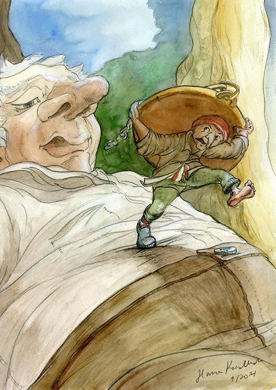 Runn!!! My gnome themed illustration #gnome #illustration #storybook #watercolor #HannaKenakkala