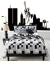New york sky line bedroom theme city themed bedroom for City themed bedroom designs