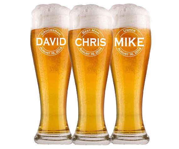 1 Groomsmen Pilsner Glass, Personalized Beer Glass, Beer Mug, Wedding Party Gifts, Gifts for Groomsmen, Engraved Glasses, Groomsmen Gift $11.00/Each