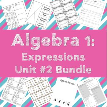 An entire unit of interactive notebook foldables, practice activities, and unit quiz all bundled into one purchase price. Topics covered in unit #2: Order of Operations, Algebraic Properties, Simplifying Expressions, and Translating Algebraic Words. Products included: Order