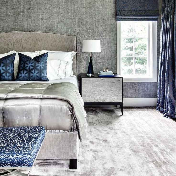Contemporary Master Bedroom with Carpet, Custom Curtains in Mrs. Peacock Labyrinth by Donghia, 3536 Metallic Paper Weaves