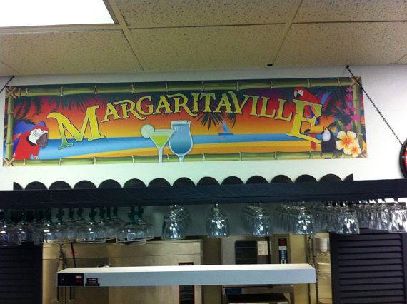 "Margaritaville Garage Game Room Bar Tiki Hut Banner 16"" X 70"""
