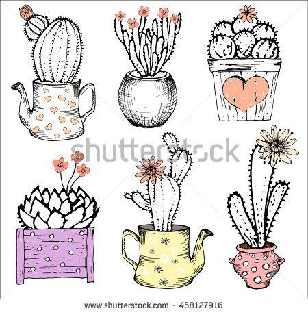 Colección de mano dibuja cactus lindo, plantas con flores actus en la tetera y la olla, corazón, aislado conjunto.  Pastel de color rosa y blanco y negro