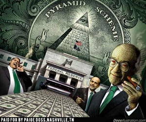 Federal Reserve was created by the world's richest banking families and a few U.S. government officials. Whoever controls the money printing press controls everything. With no gold standard, these banks/families have limitless power/influence. The founding families have deep secret society connections (Rockefellers, Rothchilds, Warburgs, etc.) and the pyramid and all seeing eye (a secret society reference) are two examples connecting the FED to secret societies. FED = Private Banking Cartel.