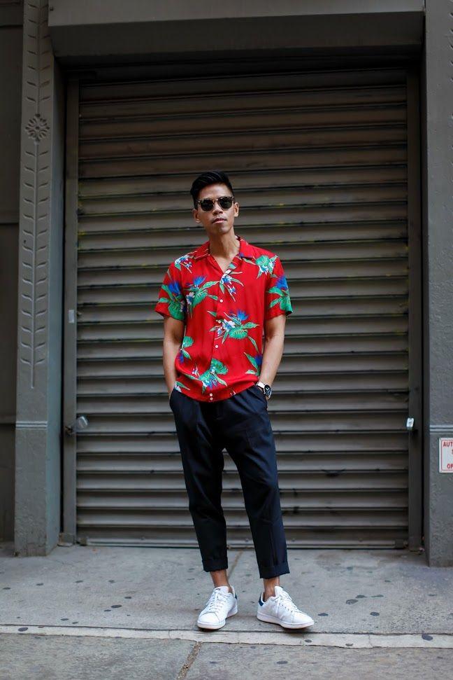sandro mens Hawaiian shirt street style