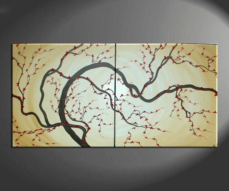 Huge Japanese Painting Plum Blossom Soft Golden Caramel Hues