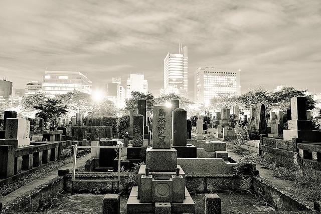 Nel tempo libero ascoltavo la musica e guardavo il cimitero  di Aoyama dalla finestra del mio soggiorno. Non  leggevo piú come una volta, trovavo difficile concentrarmi  sui libri. [Aoyama Cemetery by tokyofashion, via Flickr. Nel link il video AOYAMA CEMETERY di Hae Jung Hofman]