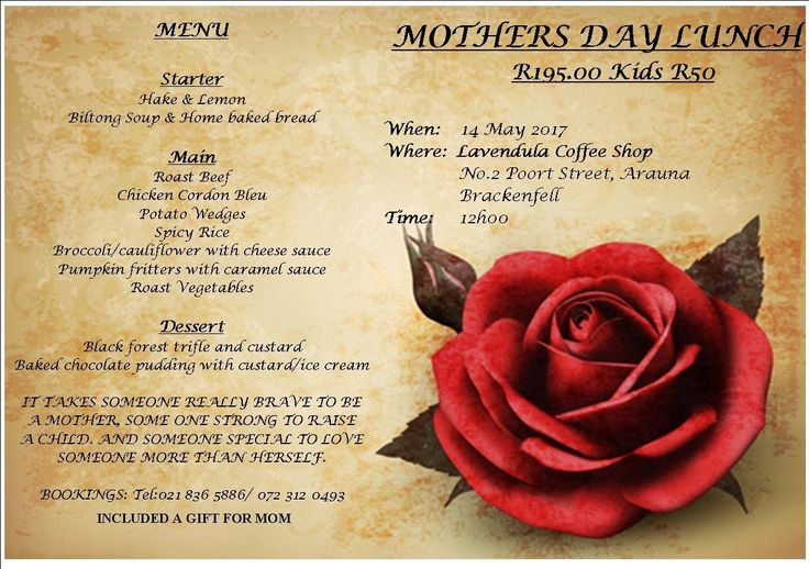 #Lavendula Bring your Mother, Wife, Grandmother and even the kids for our Mother's Day Lunch. Adults = R195, Kids = R50. Bookings at 021 836 5886 http://www.onlinepulseadvertising.co.za/event/mothers-day-lunch/