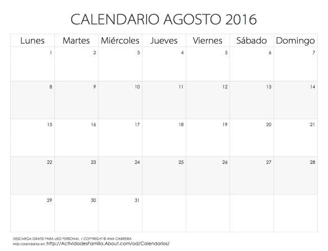 Calendarios 2016 para imprimir: Calendario Agosto 2016
