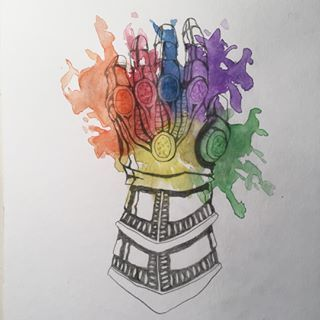 Sketch and watercolors, after a while! But Infinity War is coming and I wanted to try this!   #water #color #watercolor #sketch #marvel #geeky #comic #infinitywar #infinitygauntlet