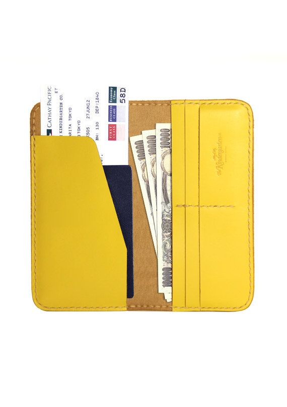 Leather Travel Wallet / Leather Passport Wallet (Fresh Yellow)- The Kindergarten Co. TKC