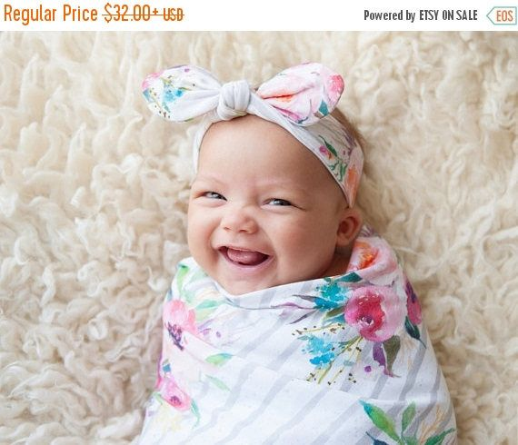 ON SALE Swaddle blanket + optional baby knot hat or headband, baby girl gift, baby shower gift, Bouquets on Gray, floral baby, new mom gift