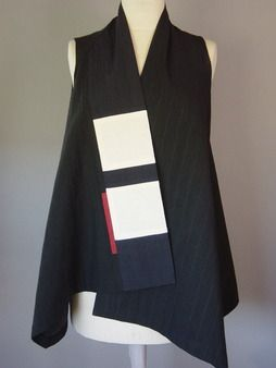 Wrapped Shoulder Vest in Black with White Blocks