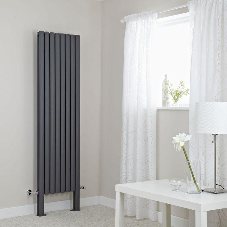 Floor-mounted 1800mm x 472mm Milano Aruba radiator in anthracite